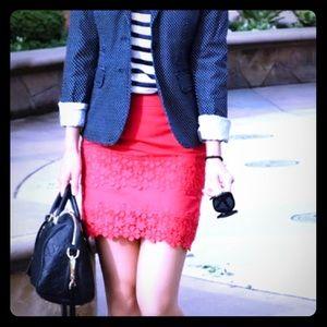 🍊JCrew daisy coral crochet pencil skirt *4*